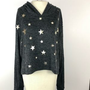 Sweaters - NWT Grey Xl silver stars hooded sweater
